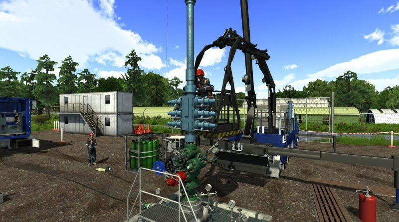 3D graphic representation of a lubricator disconnect on a land rig on a Drilling Systems WirelineSIM:5000 well intervention simulator