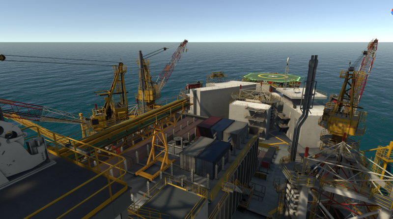 A screenshot of the 3D graphic view of a jack up rig on a Drilling Systems DrillSIM simulator