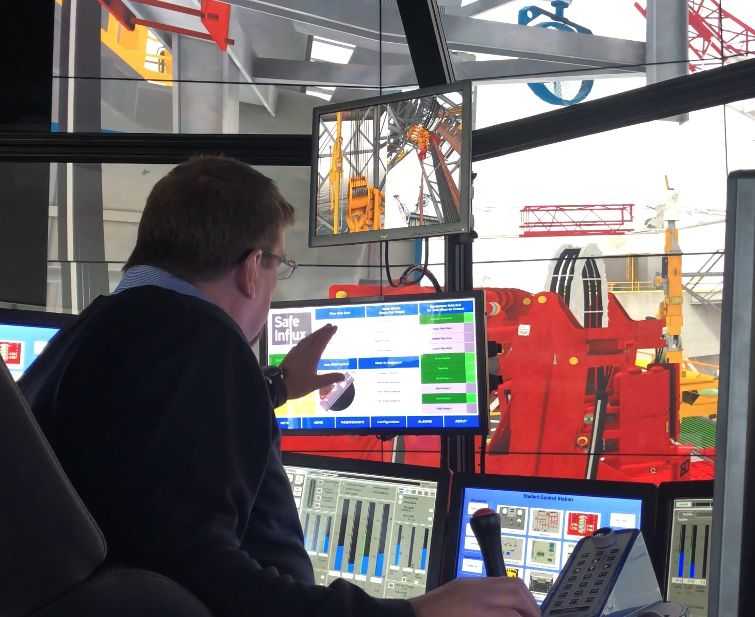 New Safe Influx oilfield product being tested on the DrillSIM:6000 drilling and well control simulator by Phil Hassard, head of drilling simulation at Robert Gordon University (RGU)
