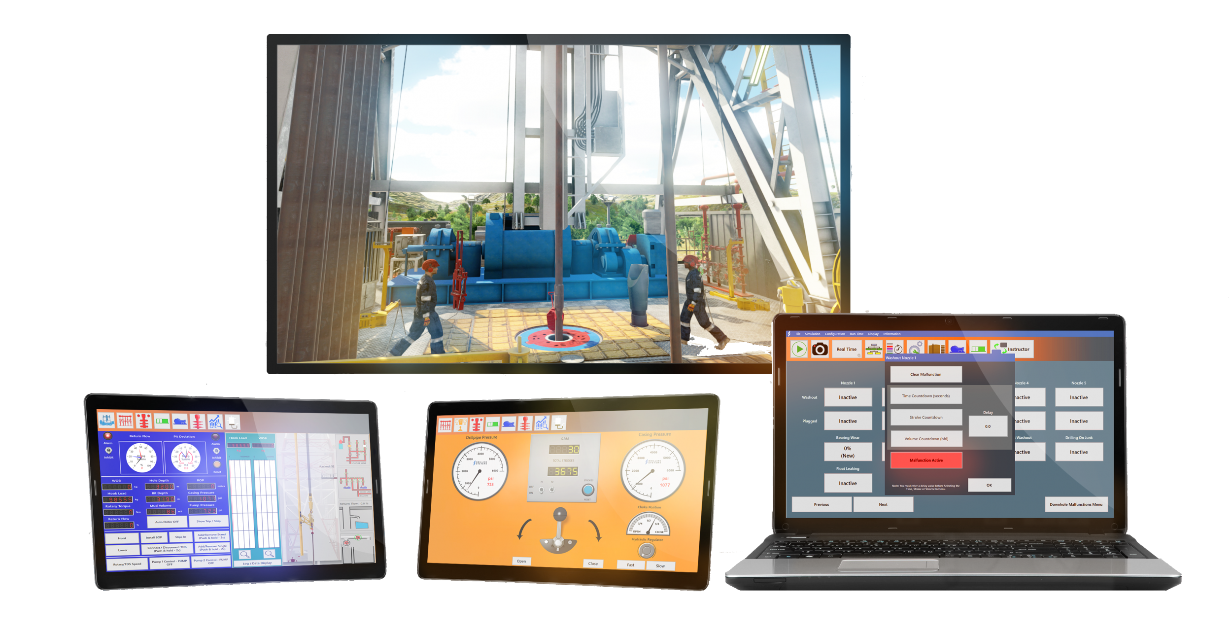 A 3D digitally rendered image of Drilling Systems' DrillSIM:10 multi-screen drilling and well control simulator