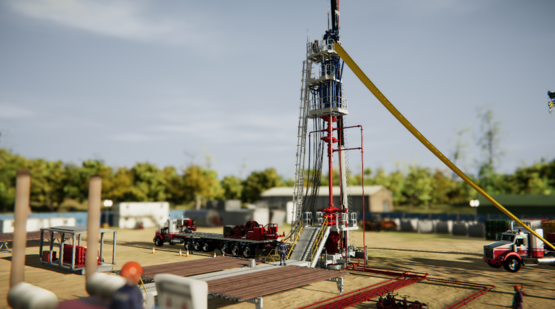 Graphic view of a snubbing rig up on land on Drilling Systems' SnubSIM:5000 well intervention simulator for snubbing operations
